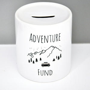 Adventure Fund Coin Bank - Mountains and Camper Van