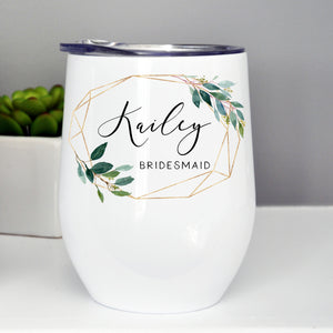 Bridesmaid/Maid of Honor Custom Wine Tumbler - Gold Frame