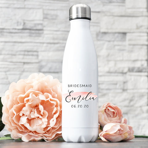 Personalized Bridesmaid Water Bottle - Blush Swash