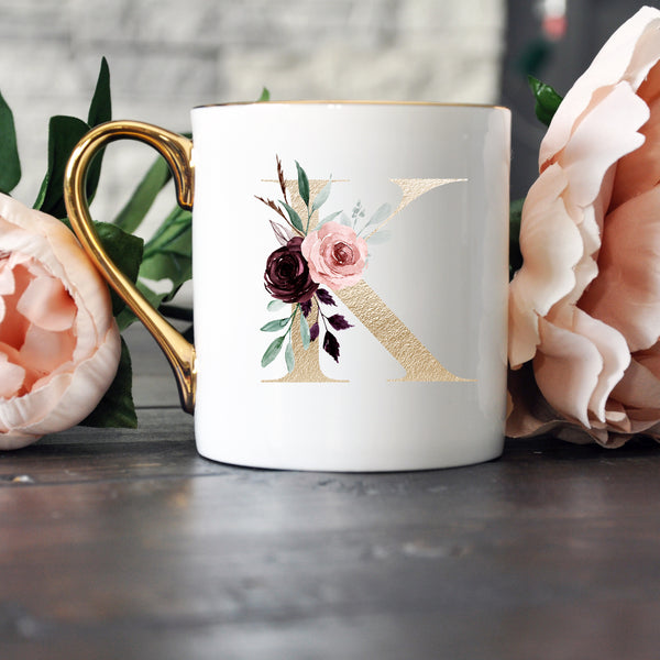 Elegant Gold Handled Bone China Mug - Gold Monogram