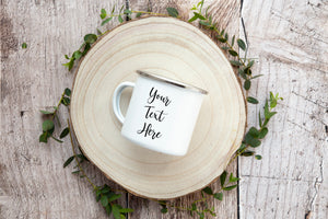 Custom Enamel Mug - Add Your Text, Logo, or Quote
