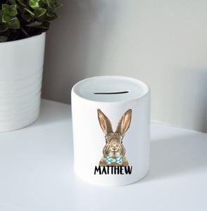 Easter Bunny Bow Tie Coin Bank
