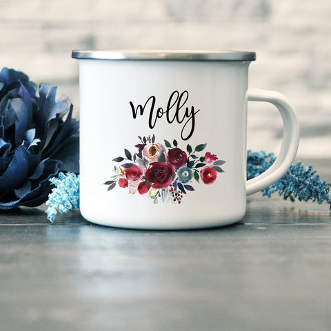 Bridesmaid, Maid of Honour, Team Bride Enamel Mug - Merlot