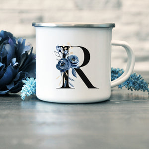 Bridesmaid, Maid of Honor, Bridal Enamel Mug - Blue Floral Monogram