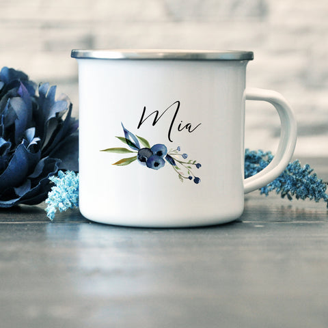 Bridesmaid, Maid of Honor, Team Bride Enamel Mug - Blueberry