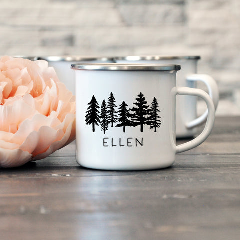 Bridesmaid, Maid of Honor, Bridal Enamel Mug - Trees