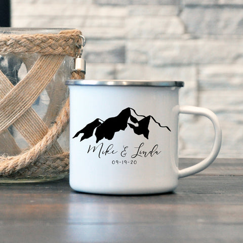 Personalized Couple Mountain Enamel Mug