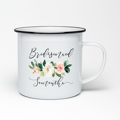 Bridesmaid, Maid of Honor, Team Bride Enamel Mug - Blush