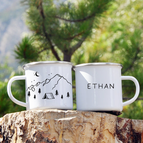 Personalized Mountain Tent Enamel Mug 12oz