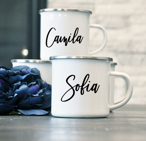 Bridesmaid, Maid of Honor, Bridal Enamel Name Mug