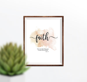 Faith Printable - Peach Inspirational Scripture Printable