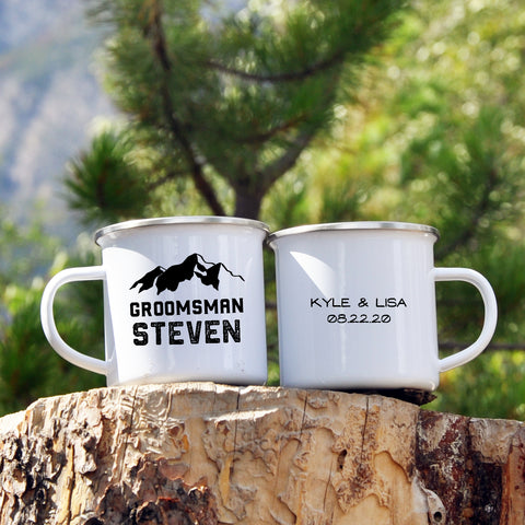 Groomsman or Best Man Mountain Enamel Mug - Wedding Party Gift