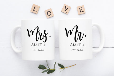 1. Custom Mr. and Mrs. Mug Set