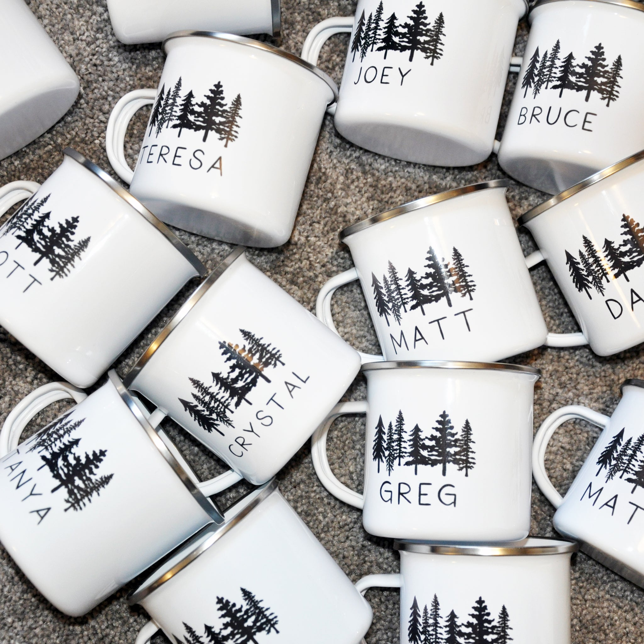 Groomsmen Bridesmaid Tree Enamel Mugs with Names