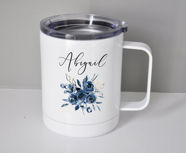 Navy Blue Floral Travel Mug