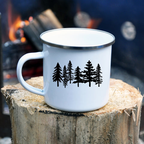 Enamel Mug with Trees
