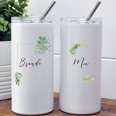 Bridesmaid/Maid of Honor Custom Tumbler - Tropical Gold Frame