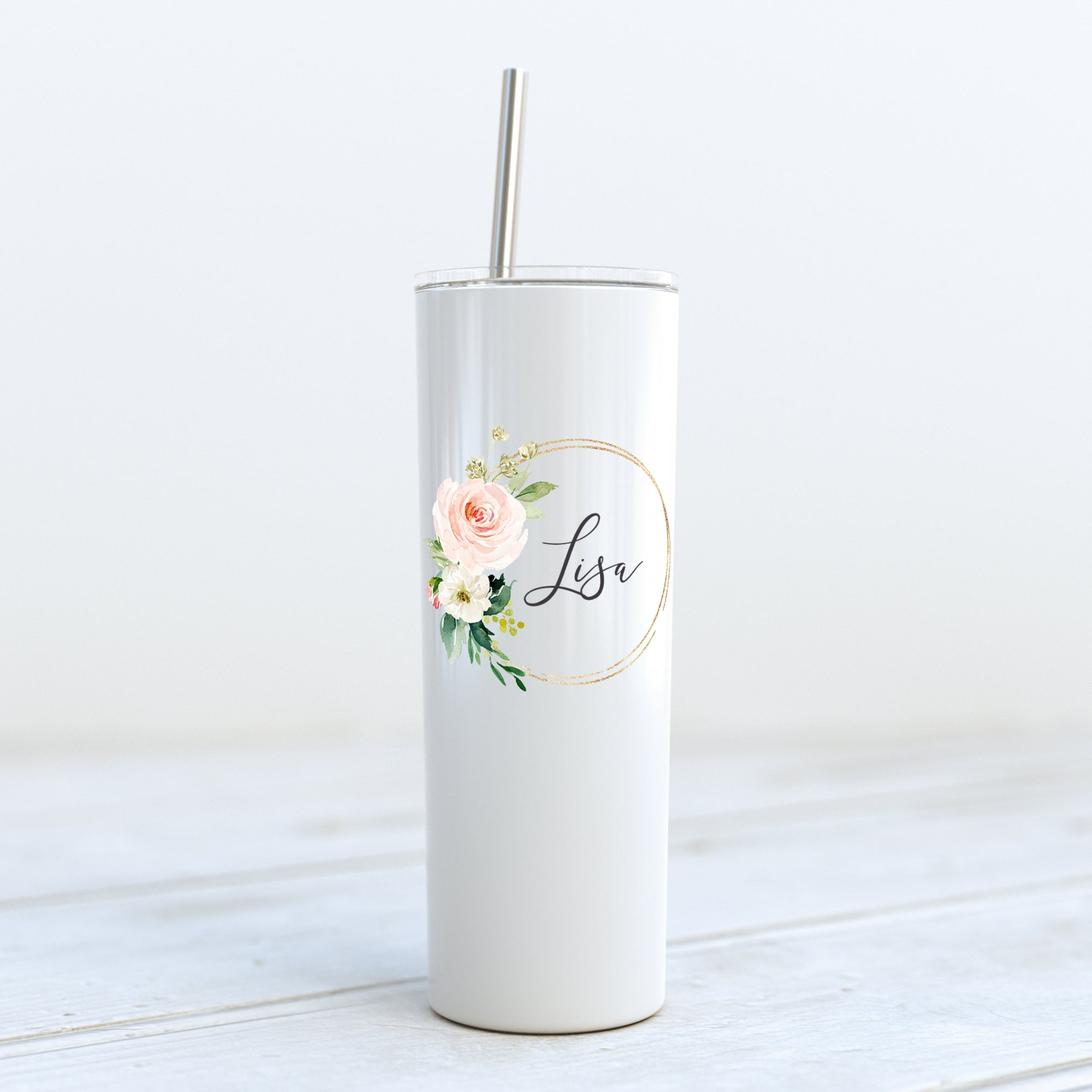 Bridesmaid/Maid of Honor Custom Tumbler - Gold Floral Ring