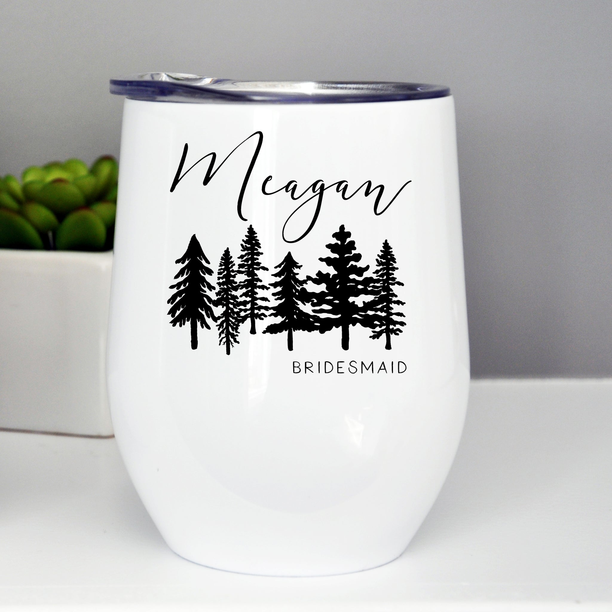 Bridesmaid/Maid of Honor Custom Wine Tumbler - Trees