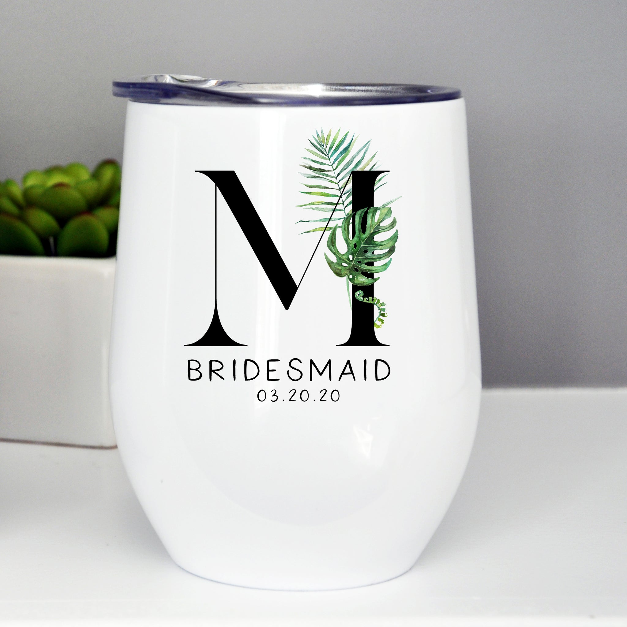 Bridesmaid/Maid of Honor Custom Wine Tumbler - Tropical Monogram