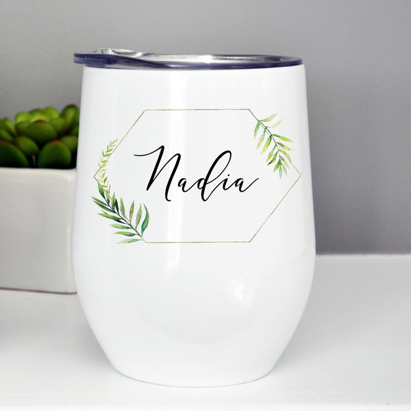 Bridesmaid/Maid of Honor Custom Wine Tumbler - Tropical Gold Frame