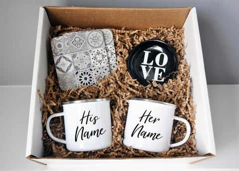 Ready to Ship Gift Box - 2 Enamel His and Hers Mugs