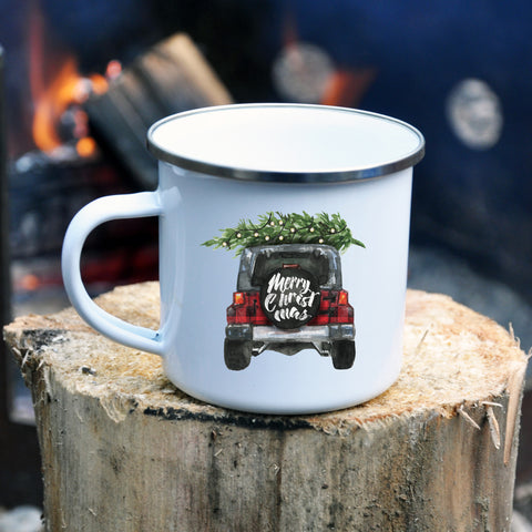 Jeep Christmas Tree Enamel Mug