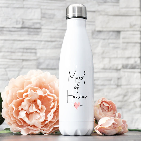 Personalized Bridal Water Bottle - Blush Heart