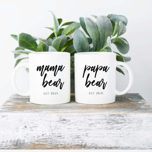 2 Ceramic Mug Set - Mama Bear and Papa Bear