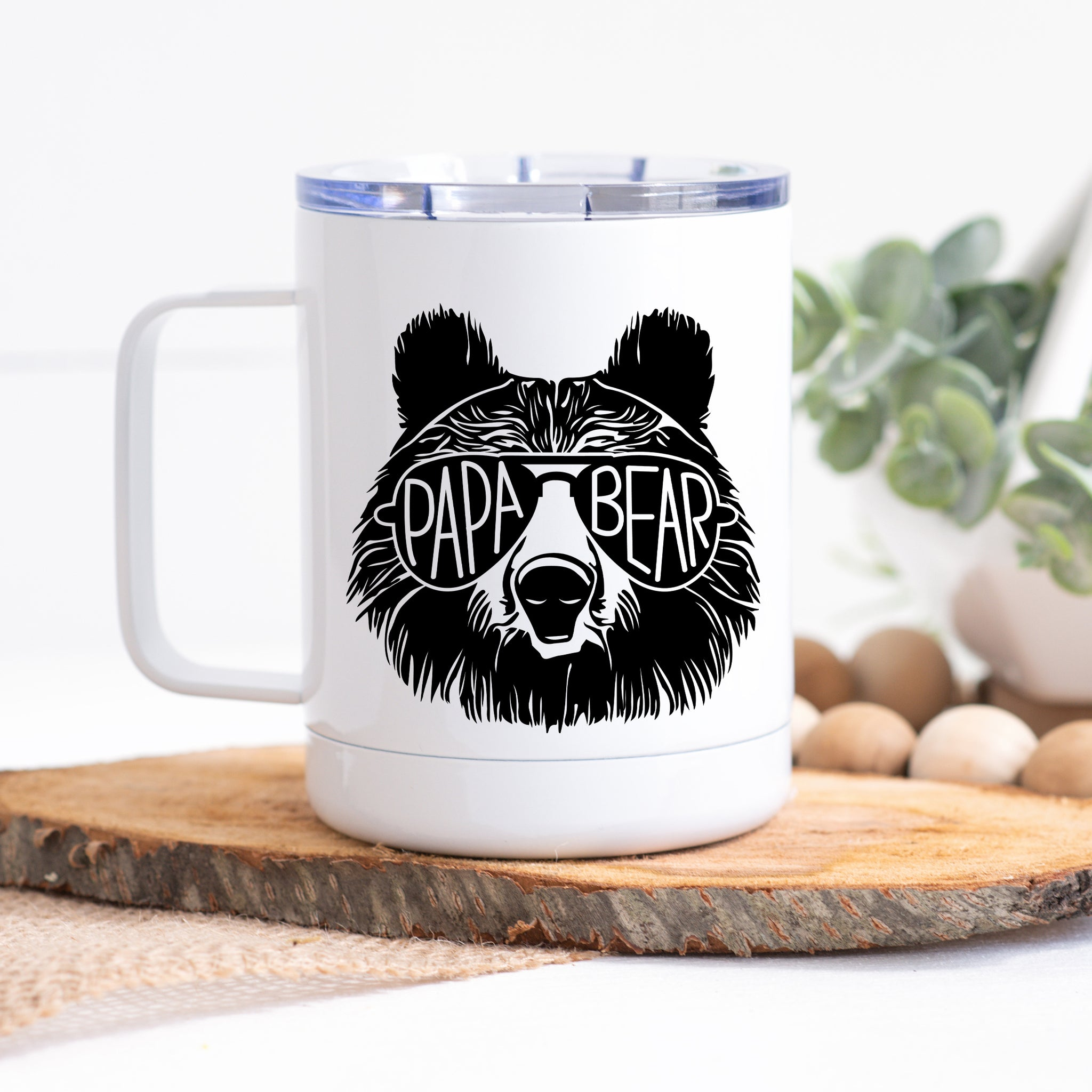 Travel Mug with Handle - Papa Bear with Glasses