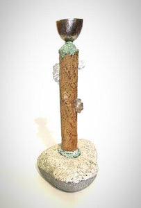 sculptural candlesticks with a rock base wood stem and a bronze candle cup made by Wendolyn Hammer