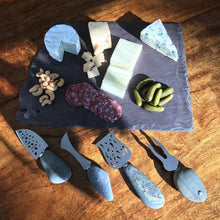 Load image into Gallery viewer, A cheese server  individually handmade from found stone, sterling and stainless steel by Wendolyn Hammer.
