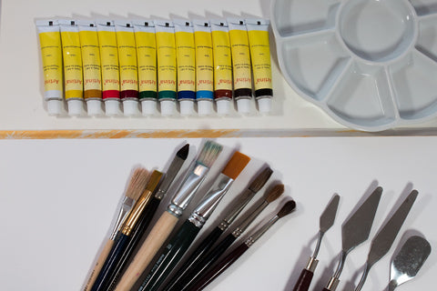 acrylic paints with compatible brushes