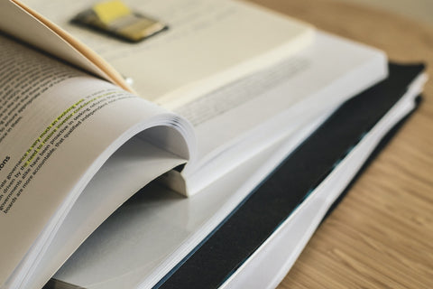 close up of photo of books for research