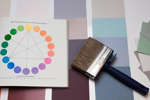 color theory with brush and color charts