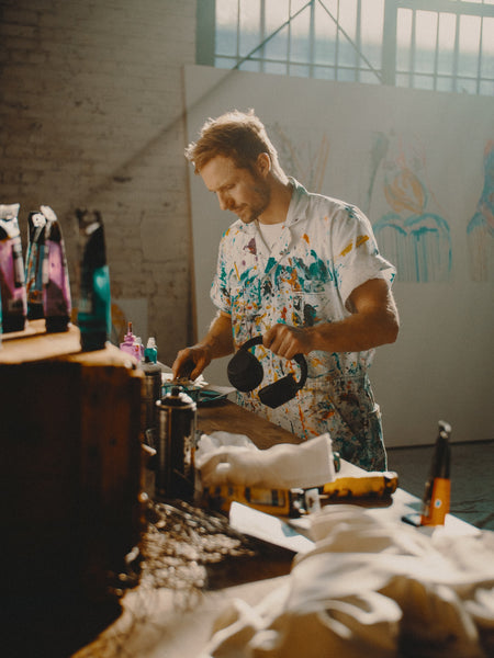 Man in painting clothes