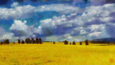 oil painting of landscape scenery with clouds