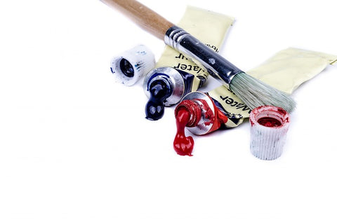 painting brush and acrylic paints for art
