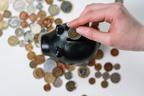 person holding coin to ceramic piggy bank