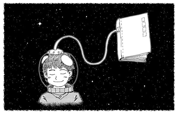 Person in spacesuit absorbing knowledge