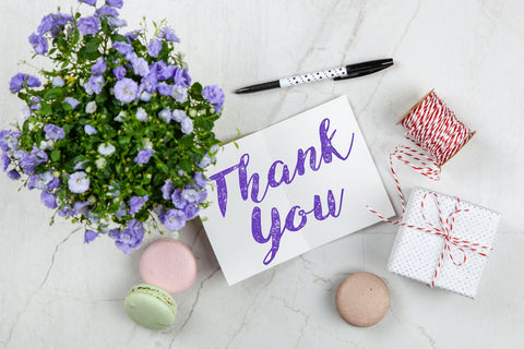 thank you gift card white with flower