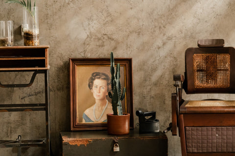 vintage portrait painting of a woman in a room