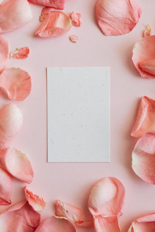 watercolor paper card with flower petals
