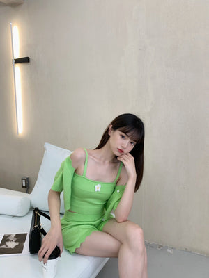 Green Daisy Knitted Top Set