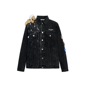 13 DE MARZO Astronaut Shoulder Teddy Bear Denim Jacket Black | MADA IN CHINA