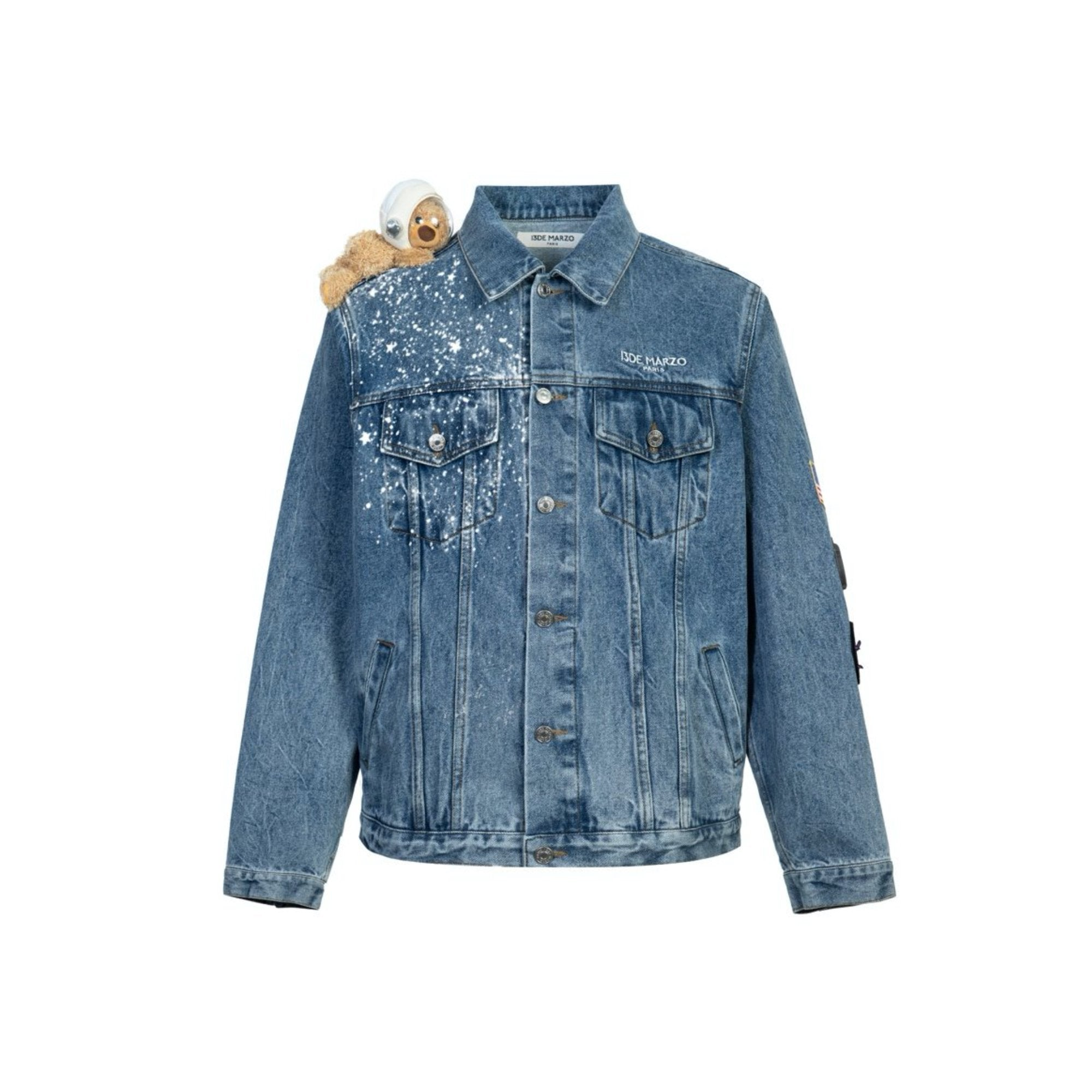 13 DE MARZO Astronaut Shoulder Teddy Bear Denim Jacket Blue | MADA IN CHINA