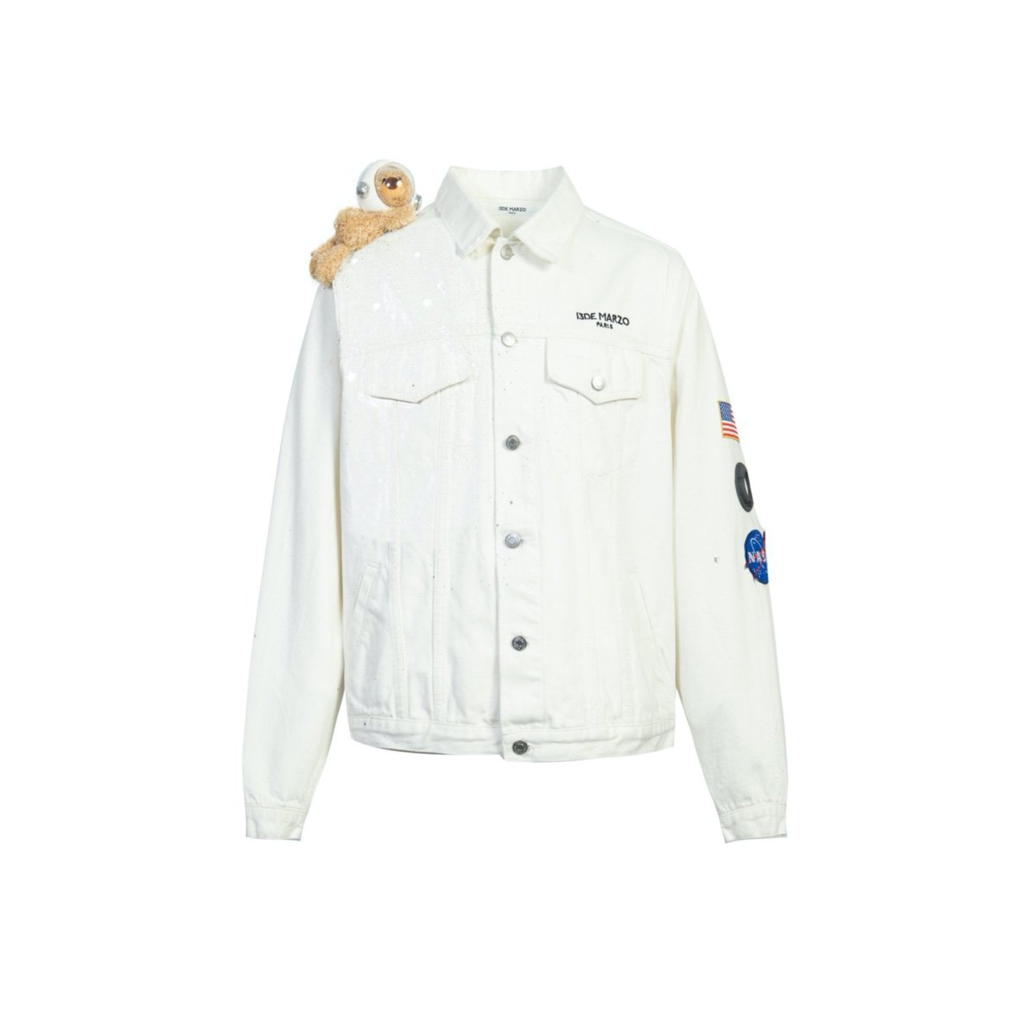 13 DE MARZO Astronaut Shoulder Teddy Bear Denim Jacket White | MADA IN CHINA