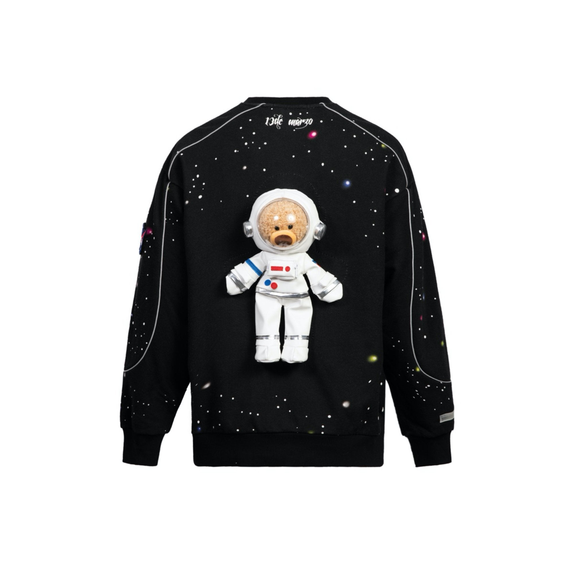 13 DE MARZO Astronaut Teddy Bear Galactic Starry Sweater Black | MADA IN CHINA