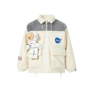 13 DE MARZO Astronaut Teddy Bear Wool Coat Crystal Cream | MADA IN CHINA