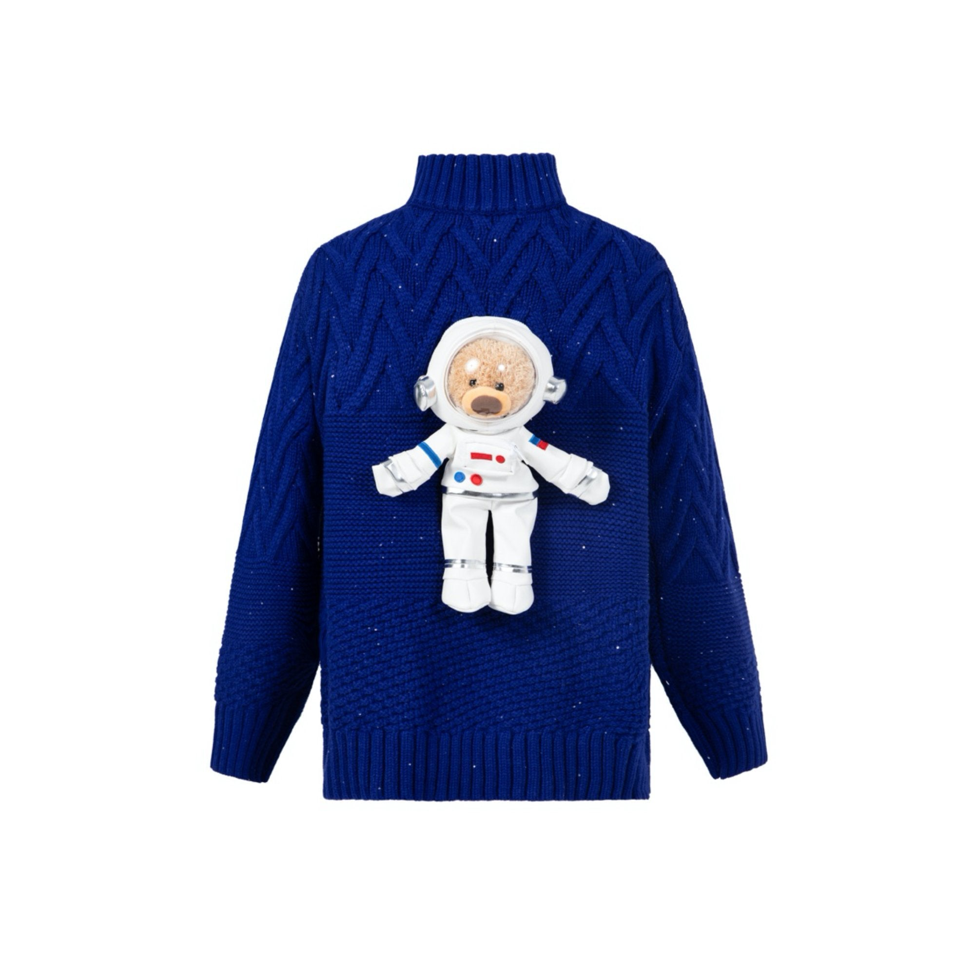 13 DE MARZO Azure Space Astronaut Teddy Bear Knit Sweater Blue | MADA IN CHINA